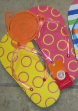 "Littlemissmatched ""Bright Yellow & Red Circles"" Flip-Flops Kids Small $10 NWT"
