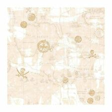 York Wallcoverings ZB3106 Pirate Map Wallpaper, Sand Beige/Taupe/Dove Gray/Gold