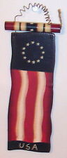 Cute Country Americana Patriotic wood sign Flag with Fire Cracker