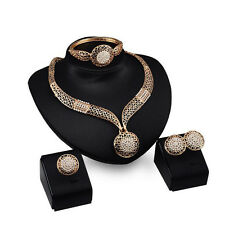 Luxury Women Jewelry Set Chunky Pendant Necklace Ring Earrings Chain Bracelet