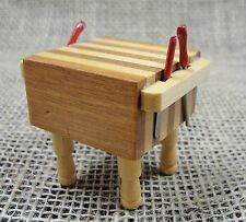 Vintage Dollhouse Butcher Block Kitchen Island Knife Miniature Hand Crafted 1:12