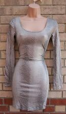 TOPSHOP SNAKE SKIN GLITTER GREY ANIMAL PRINT LONG SLEEVE PENCIL TUBE DRESS 8 S