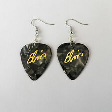 ELVIS PRESLEY guitar pick plectrum Earrings BLACK PEARL silver plated