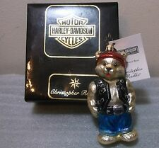 Christopher Radko PETITE HARLEY BEAR Harley Davidson Glass Ornament New NWT+BOX