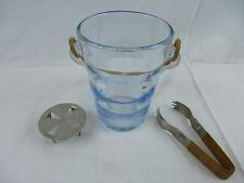 Mundgeblasener Eiswürfelbehälter mit Eiswürfelzange / 60 - 70er Jahre