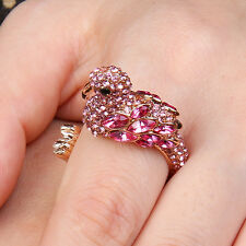 Animal Flamingo Bird Cocktail Ring Size 8 Rose Pink Austrian Crystal Gold Plated