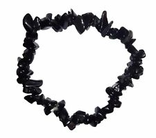 "NATURAL BLACK ONYX CRYSTAL GEMSTONE 7"" CHIP BRACELET (increase happiness"