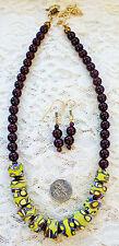 "GARNET BEAD, VINTAGE AFRICAN MILLEFIORI TRADE BEAD necklace, earrings 18 1/2"""