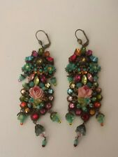 Vintage Michal Negrin Multicolored Floral Chandler Dangle Earrings
