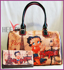 Betty Boop Women's Handbag & Wallet Set Designer Shoulder Bag Fashion Tote Purse
