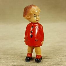 "Vintage 3"" Plastic Doll Girl Woman Red Coat Bobble Spring Head Hong Kong"