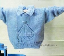 Knitting Pattern For A Lovely Boat Motif Collared Smart Boys Jumper Sweater DK