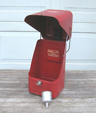 Vintage RED METAL CARRY CASE with FUNNEL for COLEMAN 200A SINGLE MANTLE LANTERN