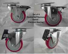 "4"" x 1-1/4"" Swivel Caster(4)w/ Red Polyurethane Wh Brake Precision Brgs 400lb ea"