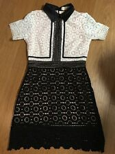 Women Style Black White Collar neck Lace dress Lady Dress Uk 8/10 Portrait