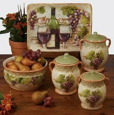 Grape Vine Canister Set 3 Piece Contemporary Kitchen Hand Painted Ceramic Decor