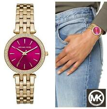 NWT Michael Kors Women's Mini Darci Pink Dial Glitz Gold Bracelet Watch MK 3444