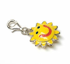 Funky 925 SOLID Sterling Silver Yellow Enamel Happy Sun Clip on Charm