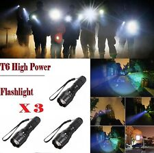 3 X Zoomable XML-T6 3000Lumen Ultra 6000k LED Flashlight Focus Torch Light Lamp
