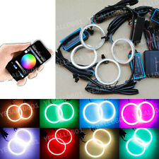 4x RGB 70MM COB LED Angel Eye Lights Halo Rings Phone APP Control Headlight DRL