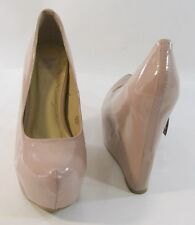 "NUDE 5.5"" HIDDEN WEDGE HEEL 2"" PLATFORM ROUND TOE  sexy shoes SIZE. 8.5"