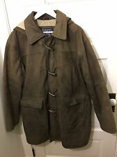 Burberry Prosum Leather Hooded Toggle Duffle Coat Men's Large