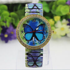 2015 Fashion Women Blue Butterfly Pattern Casual Quartz Watch Stretch Watch Pop