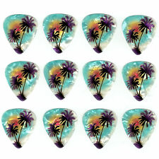 12 Pack PALM TREES LIGHT BLUE BEACH OCEAN Medium Gauge 351 Guitar Picks Plectrum