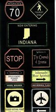 SS - FC - Indiana Road Signs Scrapbooking Stickers - Travel, Road Trip