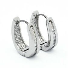 Channel Set CZ Cubic Zirconia Huggie Hoop Earrings