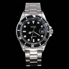 New Black SOKI Date Analog Automatic Mens Man Mechanical Wrist Band Watch S86