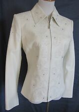 St. John Sport Leather Jacket Lambskin White Embroidered Small PERFECT