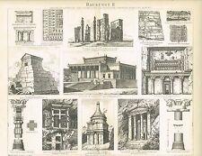 Tafel ARCHITEKTUR / BABYLONIEN / PERSIEN / PHÖNIZIER 1885 Original-Holzstich