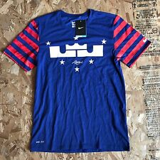 NIKE LEBRON JAMES INDEPENDENCE DAY BASKETBALL T SHIRT BLUE SIZE MEDIUM NWT