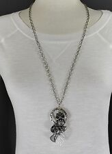 "Antiqued silver tone owl branch leaf heart star pendant 30"" long necklace"