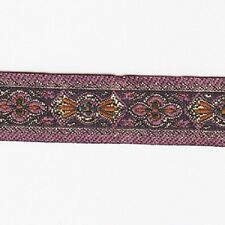 1 METRE 18mm PATTERNED EMBROIDERED RIBBON PINK/PURPLE DESIGN FABRIC TRIM REB006
