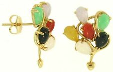 Natural Multi-Color Jadeite & Black Nephrite Jade Pear 14K Yellow Gold Earrings