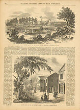 Watertown, Mass. United States Arsenal, Lot Of 2 Pages, 1874 Antique Art, Print.