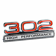 """Ford Mustang 5.0L 302 High Performance Fender Emblem in Chrome & Red 4"""" x 1.5"""""""