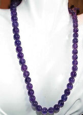 "Long 25"" 8mm Russian Amethyst Gemstones Round Loose Beads Necklace AAA"