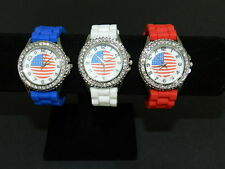 Geneva clear crystal watch 3 x American flag  Blue, White, Red Wholesale lot NEW