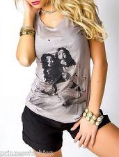 Shirt mit Fotodruck und Nieten Top T-Shirt Gr. 36/38 S/M Grau