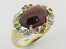 Large Genuine 9ct Solid Gold Unique Natural Garnet, Ruby & Diamond Cocktail Ring