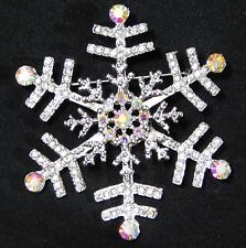 Christmas Gift Snowflake Clear and AB Rhinestone Crystal Silver Brooch Pin
