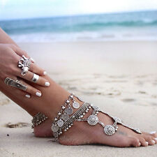Vogue Silver Boho Gypsy Coin Anklet Ankle Bracelet Foot Chain Women Jewelry 3