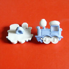 15 Train Transport Kid Boy Sew On Clothes Craft Buttons Dress it up Blue K820