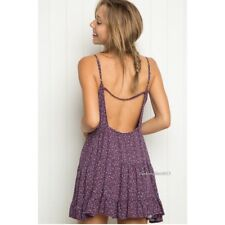 Rare! brandy melville Purple Floral open back tiered ruffled trim jada dress NWT