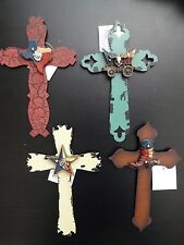 "7"" Western Metal Hanging Wall Cross Ornament Rustic Crackle Paint Effect 4/Set"
