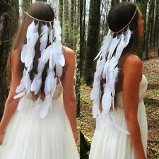 Feather Headdress Headband Indian Weave Boho Gypsy Wedding Hairband Headpiece