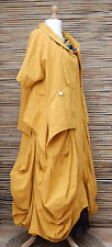 LAGENLOOK COTTON/LINEN BOHO BALLOON 2 PCS MAXI DRESS+JACKET*YELLOW*SIZE L-XL